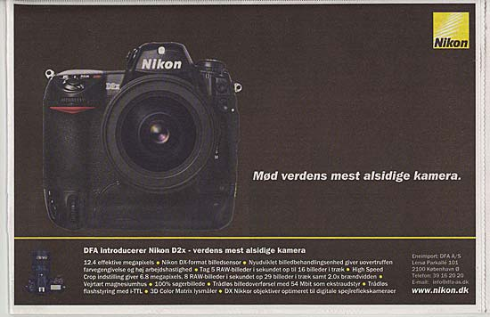 Danish advert for Nikon D2x